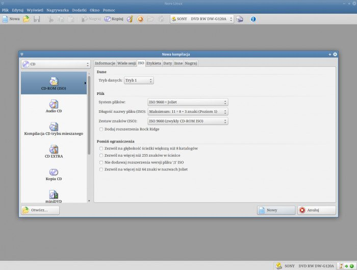 Nero Linux 4.0.0.0b - ekran startowy