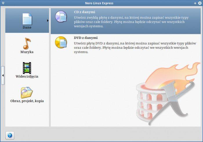 Nero Linux Express 4.0.0.0b - ekran startowy