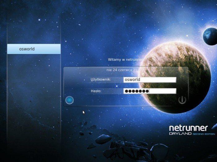 Netrunner 4.2 - logowanie