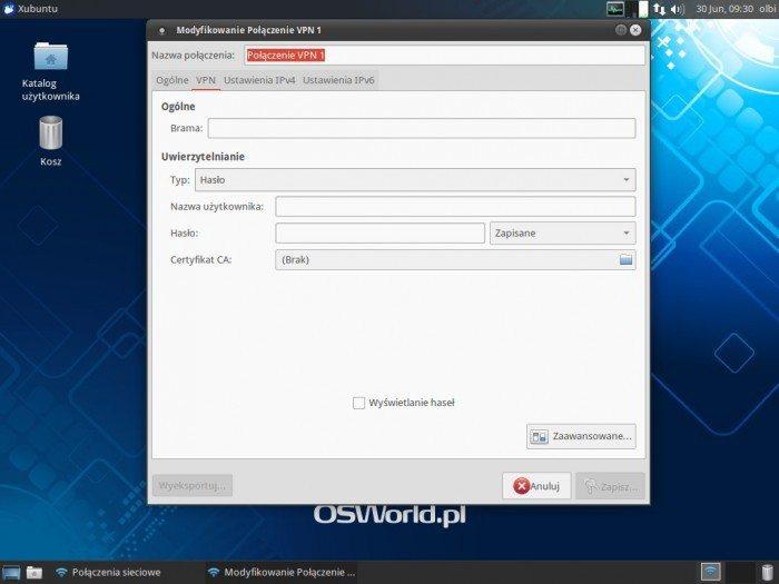 OpenVPN w NetworkManagerze - Uwierzytelnianie - Hasło