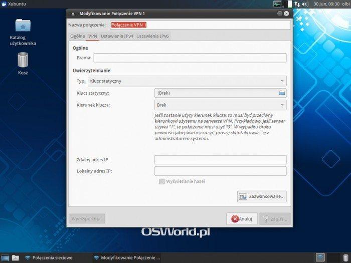 OpenVPN w NetworkManagerze - Uwierzytelnianie - Klucz statyczny
