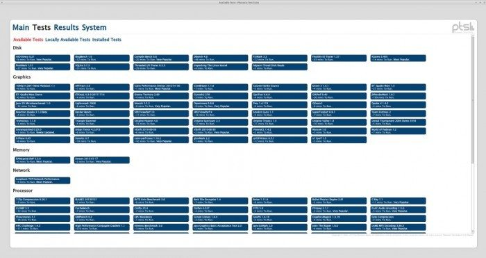 Phoronix Test Suite 5.0 - interfejs graficzny z wynikami