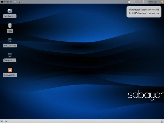 Sabayon - próba ujarzmienia Gentoo - Xfce - pulpit