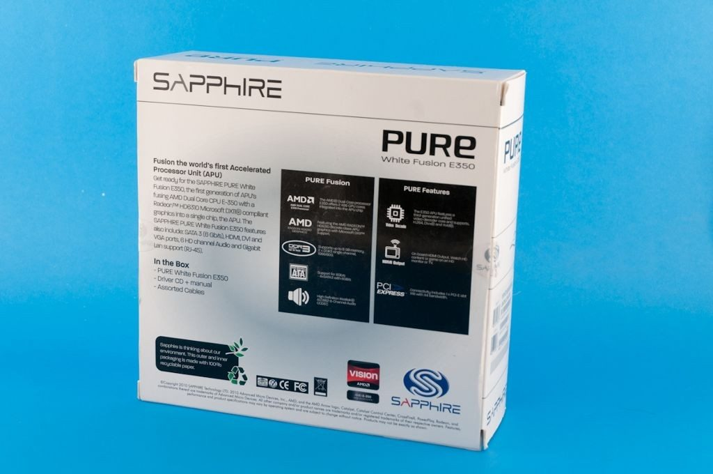 Sapphire Pure White Fusion E350 - pudełko tył
