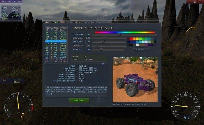 Stunt Rally 2.1 - zakładka auta
