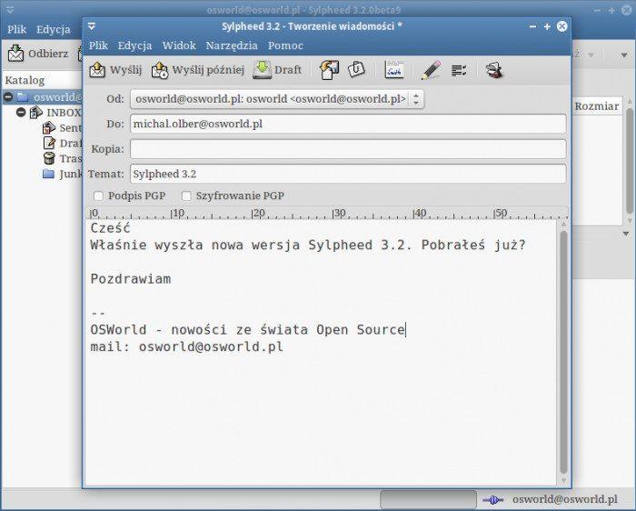 Sylpheed 3.2 - pisanie nowej wiadomości