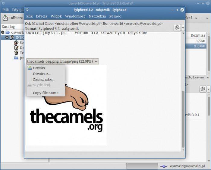 Sylpheed 3.2 - podgląd wiadomości z załącznikiem