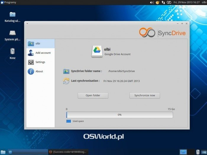SyncDrive - informacja o dysku Google