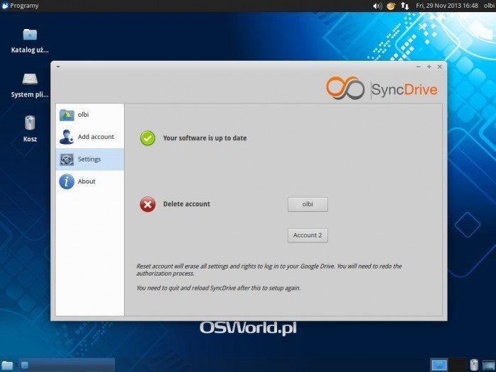 SyncDrive - ustawienia