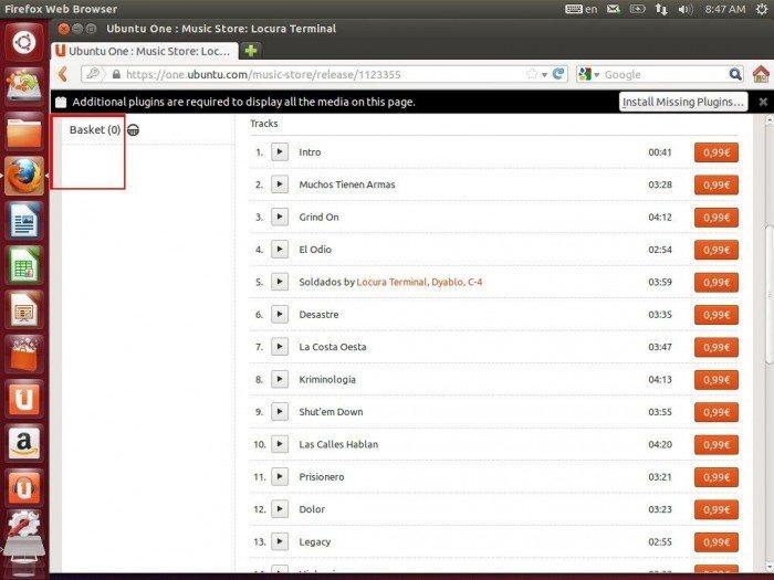 Unity Dash z propozycjami ofert Amazonu - Ubuntu One Music Store_1
