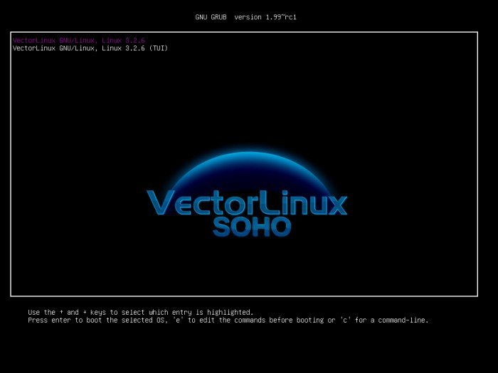 VectorLinux 7.0 SOHO - menu wyboru systemu