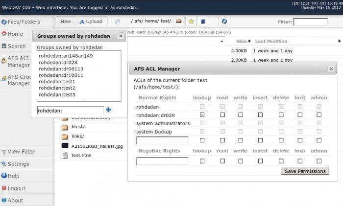 WebDAV CGI - interfejs webowy - AFS