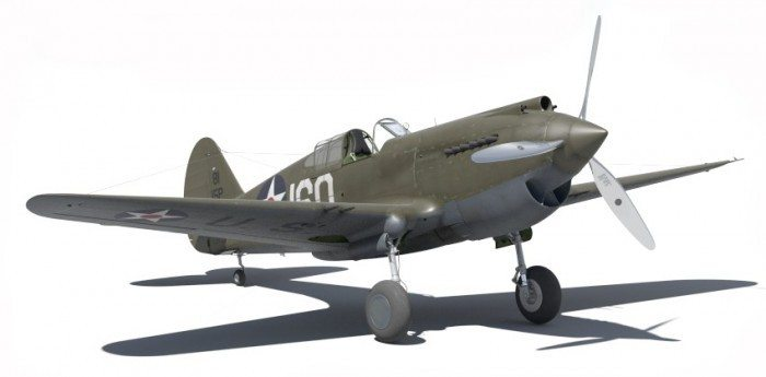 Wirtualne samoloty - model P-40B z przodu