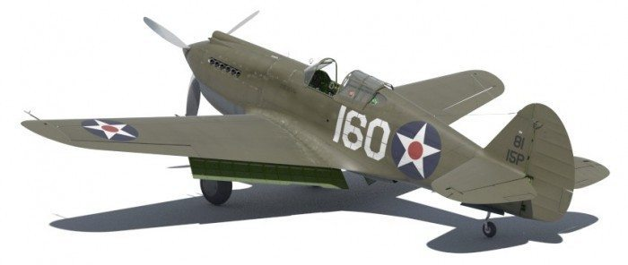 Wirtualne samoloty - model P-40B z tyłu