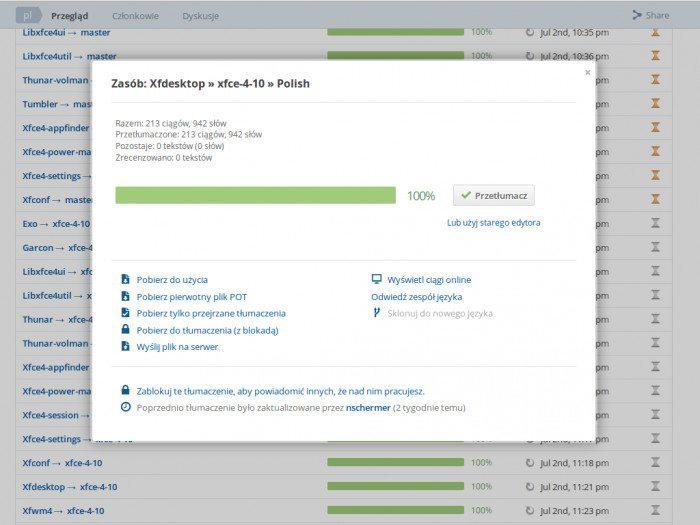 Xfce - pliki językowe - wybór projektu