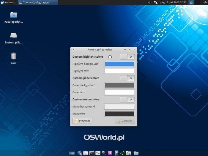 Xubuntu 13.10 - narzędzie do zmiany kolorów stylu