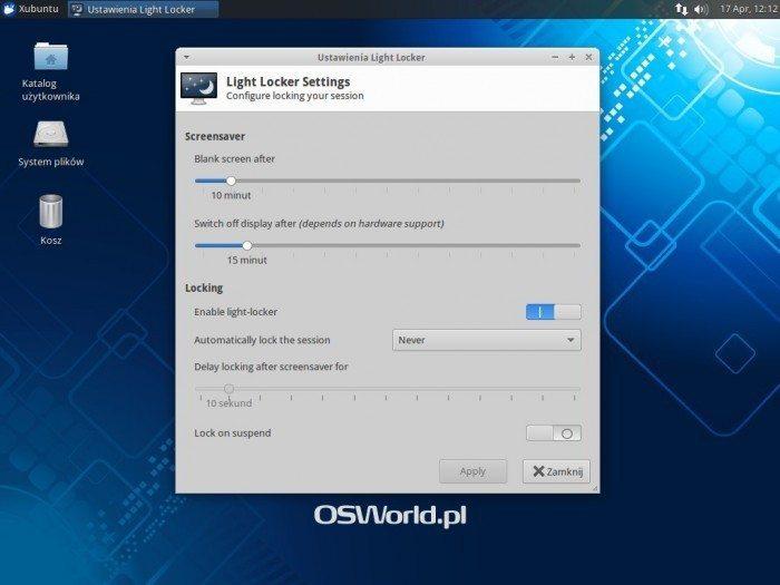 Xubuntu 14.04 - Ustawienia Light Locker