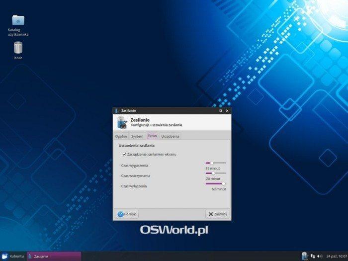 Xubuntu 14.10 - Zasilanie - Ekran