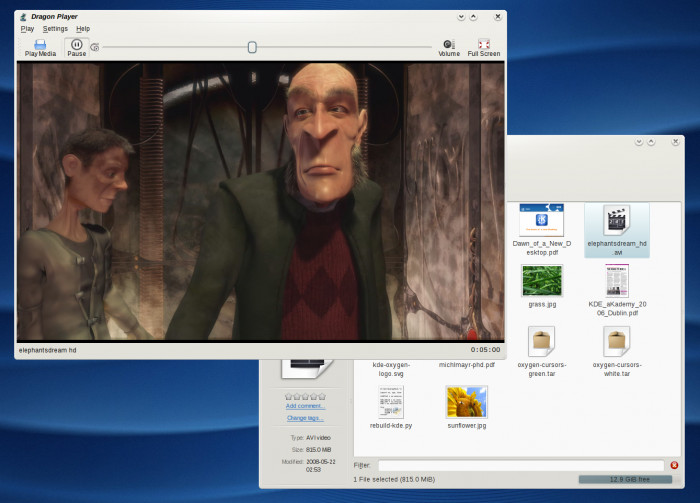 KDE 4.1 Beta 1 - Dragon Player