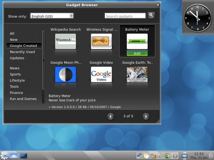Linux Mint 8 - Google Widgets