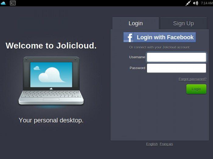 Jolicloud 1.1.1 - Logowanie