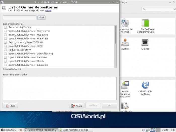openSUSE 13.1 - Lista repozytoriów społeczności