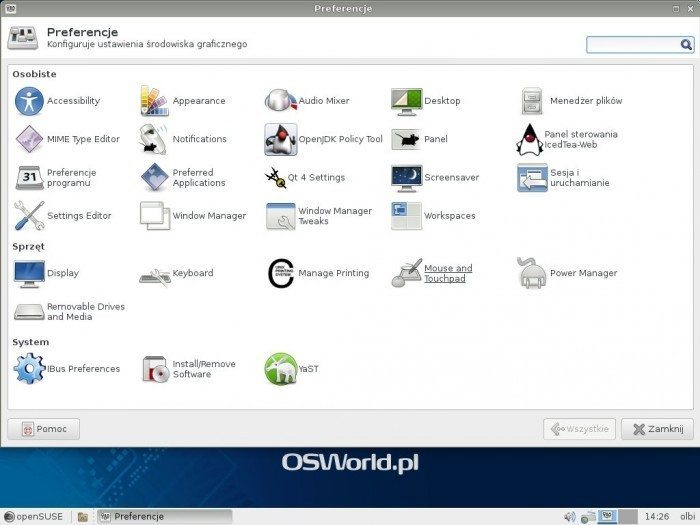 openSUSE 13.1 - Preferencje