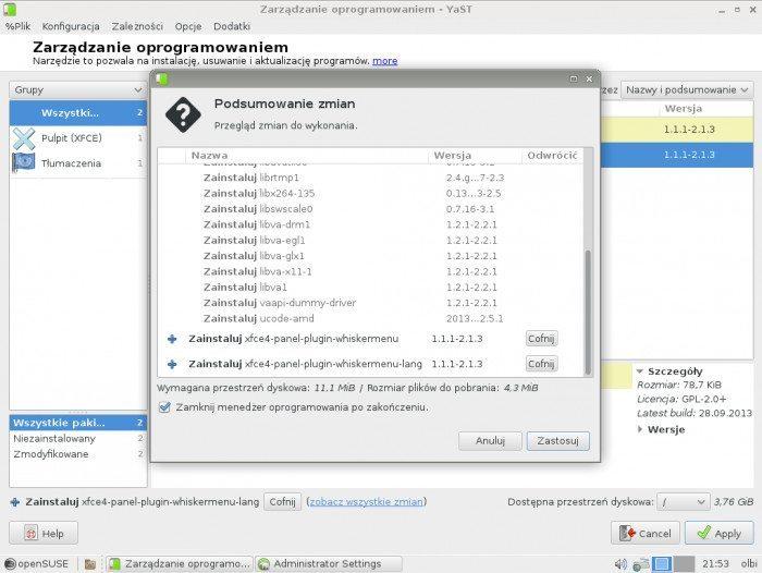 openSUSE 13.1 - Zarządzanie oprogramowaniem - podsumowanie zmian