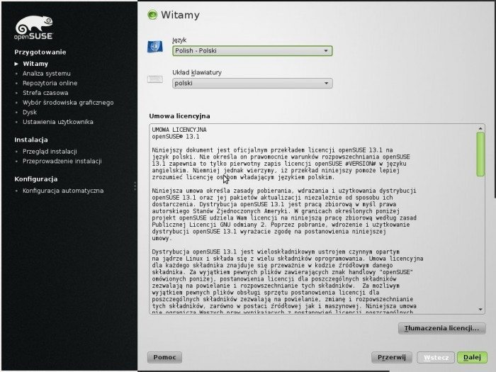 openSUSE 13.1 - instalator licencja