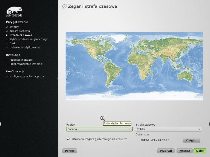 openSUSE 13.1 - instalator strefa czasowa