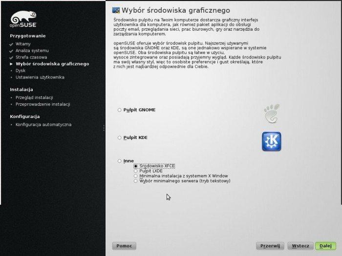 openSUSE 13.1 - instalator wybór środowiska graficznego