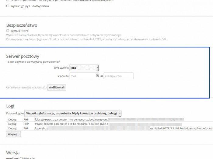 ownCloud 7 - Serwer pocztowy php