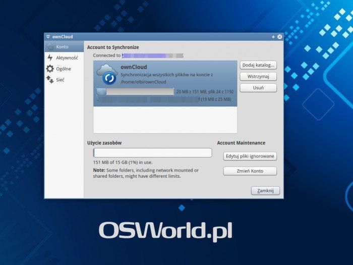 ownCloud Client - synchronizacja konta