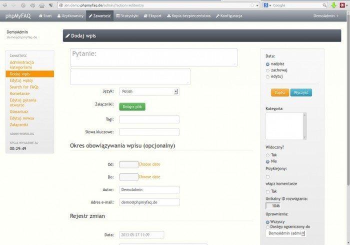 phpMyFAQ 2.8.0 - dodaj wpis