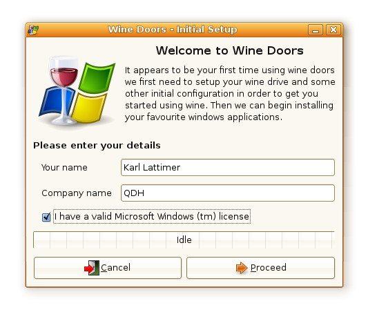 Wine-Doors - Pierwsze uruchomienie