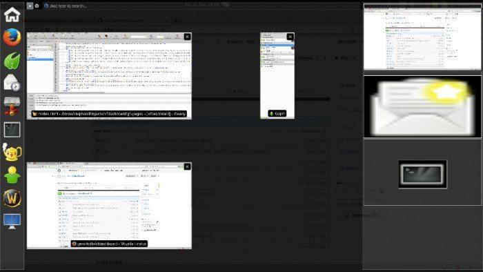 xfdashboard 0.1.0 - okno startowe