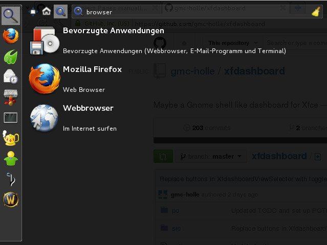 xfdashboard 0.1.0 - szukanie przeglądarki